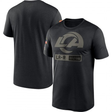 Men's Nike Los Angeles Rams Black 2020 Salute to Service Team Logo Performance T-Shirt -