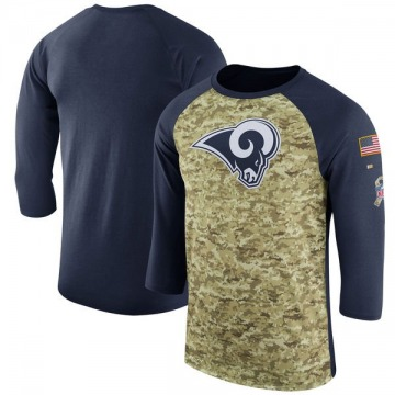 Men's Nike Los Angeles Rams Camo /Navy Salute to Service 2017 Sideline Performance Three-Quarter Sleeve T-Shirt - Legend