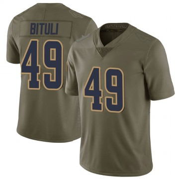 Men's Nike Los Angeles Rams Daniel Bituli Green 2017 Salute to Service Jersey - Limited