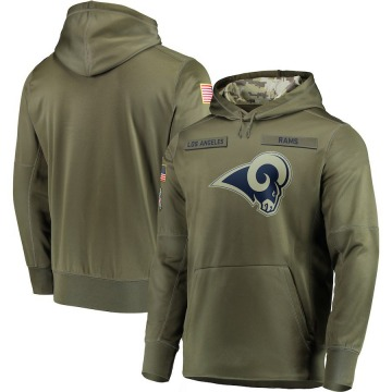 Men's Los Angeles Rams Olive 2018 Salute to Service Sideline Therma Performance Pullover Hoodie -