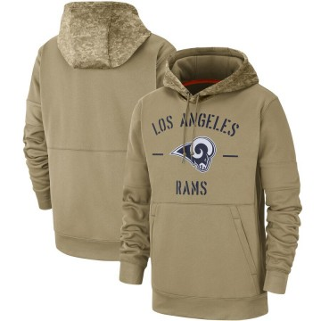 Men's Nike Los Angeles Rams Tan 2019 Salute to Service Sideline Therma Pullover Hoodie -
