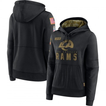 Women's Los Angeles Rams Black 2020 Salute to Service Performance Pullover Hoodie -