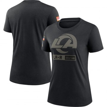 Women's Nike Los Angeles Rams Black 2020 Salute To Service Performance T-Shirt -