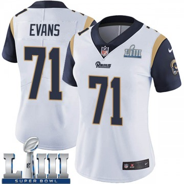 Women's Nike Los Angeles Rams Bobby Evans White Super Bowl LIII Bound Vapor Untouchable Jersey - Limited