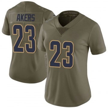 Women's Nike Los Angeles Rams Cam Akers Green 2017 Salute to Service Jersey - Limited