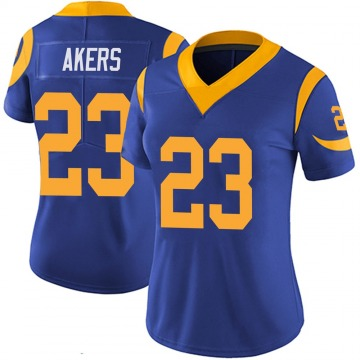 Women's Nike Los Angeles Rams Cam Akers Royal 100th Vapor Jersey - Limited