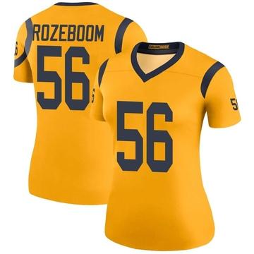 Women's Nike Los Angeles Rams Christian Rozeboom Gold Color Rush Jersey - Legend
