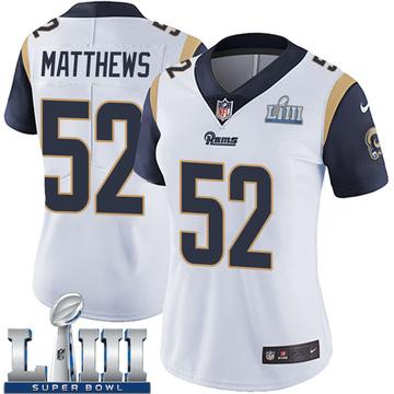 Women's Nike Los Angeles Rams Clay Matthews White Super Bowl LIII Bound Vapor Untouchable Jersey - Limited