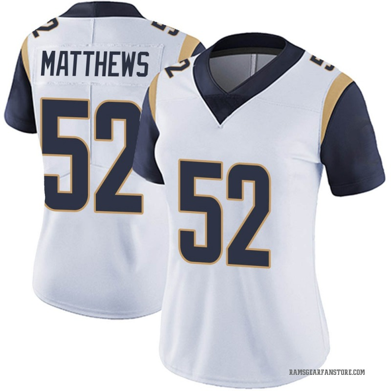 sports shoes 5809a 8afb4 Women's Nike Los Angeles Rams Clay Matthews White Vapor Untouchable Jersey  - Limited