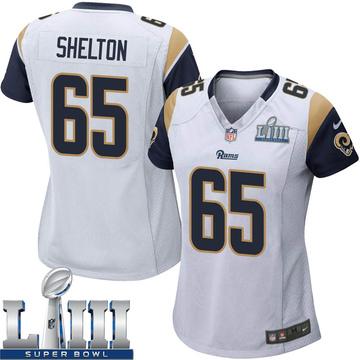 Women's Nike Los Angeles Rams Coleman Shelton White Super Bowl LIII Bound Jersey - Game