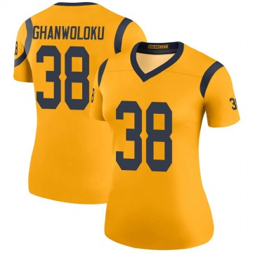 Women's Nike Los Angeles Rams Dayan Ghanwoloku Gold Color Rush Jersey - Legend