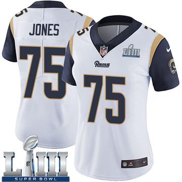 Women's Nike Los Angeles Rams Deacon Jones White Super Bowl LIII Bound Vapor Untouchable Jersey - Limited