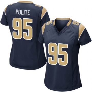 Women's Nike Los Angeles Rams Jachai Polite Navy Team Color Jersey - Game