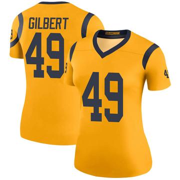 Women's Nike Los Angeles Rams James Gilbert Gold Color Rush Jersey - Legend