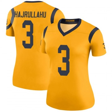 Women's Nike Los Angeles Rams Lirim Hajrullahu Gold Color Rush Jersey - Legend