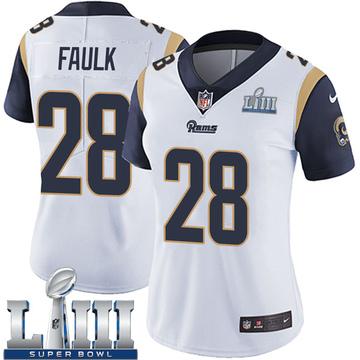 Women's Nike Los Angeles Rams Marshall Faulk White Super Bowl LIII Bound Vapor Untouchable Jersey - Limited
