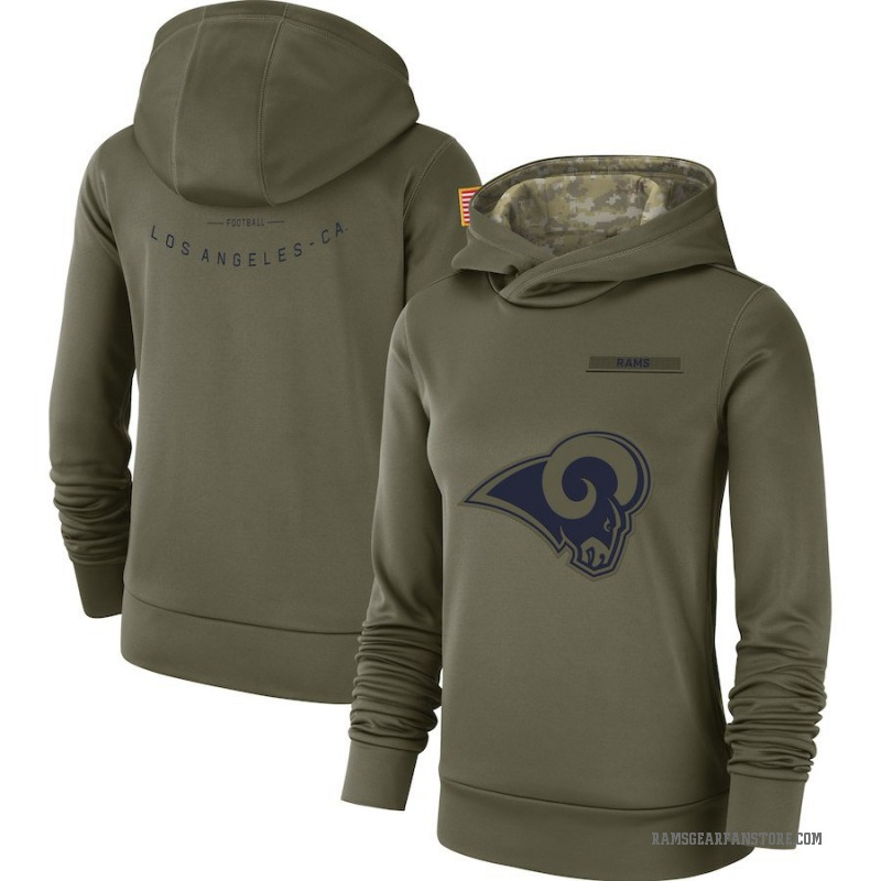 Women's Nike Los Angeles Rams Olive 2018 Salute to Service Team Logo Performance Pullover Hoodie -