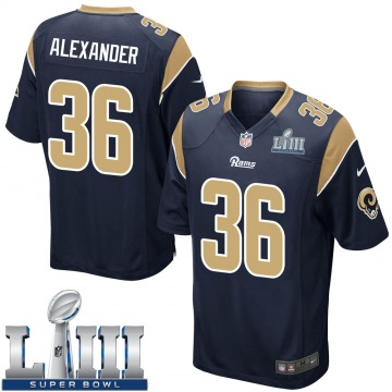 Youth Nike Los Angeles Rams Adonis Alexander Navy Team Color Super Bowl LIII Bound Jersey - Game
