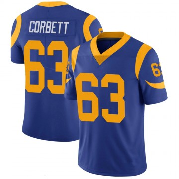 Youth Nike Los Angeles Rams Austin Corbett Royal 100th Vapor Jersey - Limited