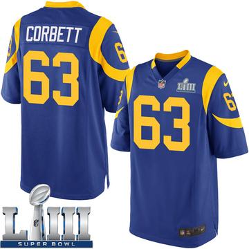 Youth Nike Los Angeles Rams Austin Corbett Royal Alternate Super Bowl LIII Bound Jersey - Game