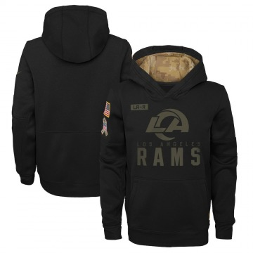 Youth Los Angeles Rams Black 2020 Salute to Service Pullover Performance Hoodie -
