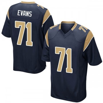 Youth Nike Los Angeles Rams Bobby Evans Navy Team Color Jersey - Game