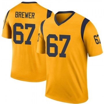 Youth Nike Los Angeles Rams Chandler Brewer Gold Color Rush Jersey - Legend