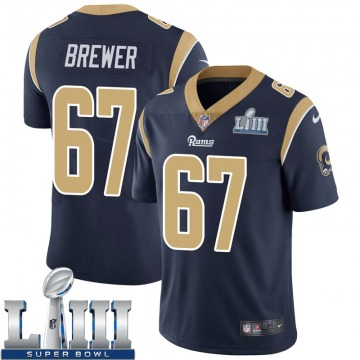 Youth Nike Los Angeles Rams Chandler Brewer Navy Team Color Super Bowl LIII Bound Vapor Untouchable Jersey - Limited