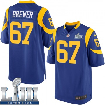 Youth Nike Los Angeles Rams Chandler Brewer Royal Alternate Super Bowl LIII Bound Jersey - Game