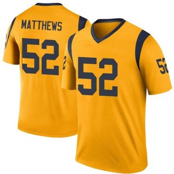 Youth Nike Los Angeles Rams Clay Matthews Gold Color Rush Jersey - Legend