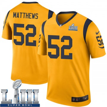 Youth Nike Los Angeles Rams Clay Matthews Gold Color Rush Super Bowl LIII Bound Jersey - Legend