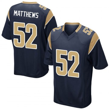 Youth Nike Los Angeles Rams Clay Matthews Navy Team Color Jersey - Game