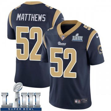 Youth Nike Los Angeles Rams Clay Matthews Navy Team Color Super Bowl LIII Bound Vapor Untouchable Jersey - Limited
