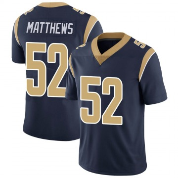 Youth Nike Los Angeles Rams Clay Matthews Navy Team Color Vapor Untouchable Jersey - Limited