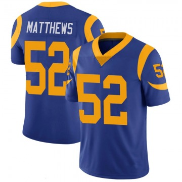 Youth Nike Los Angeles Rams Clay Matthews Royal 100th Vapor Jersey - Limited