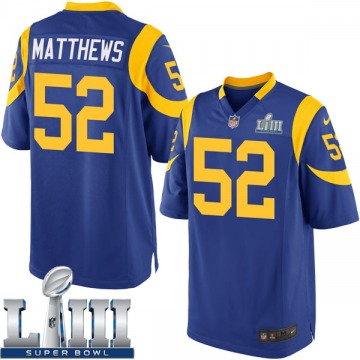 Youth Nike Los Angeles Rams Clay Matthews Royal Alternate Super Bowl LIII Bound Jersey - Game