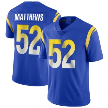 Youth Nike Los Angeles Rams Clay Matthews Royal Alternate Vapor Untouchable Jersey - Limited