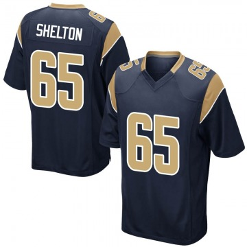 Youth Nike Los Angeles Rams Coleman Shelton Navy Team Color Jersey - Game