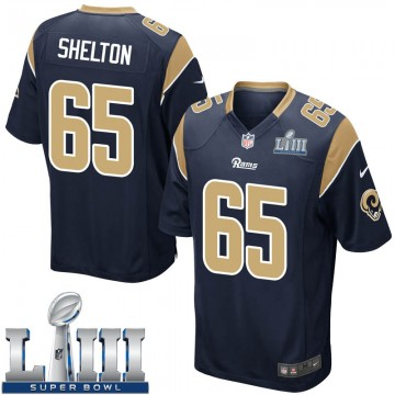 Youth Nike Los Angeles Rams Coleman Shelton Navy Team Color Super Bowl LIII Bound Jersey - Game