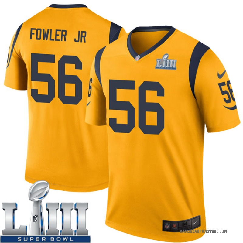 sports shoes 3c147 a3e6a Youth Nike Los Angeles Rams Dante Fowler Jr. Gold Color Rush Super Bowl  LIII Bound Jersey - Legend