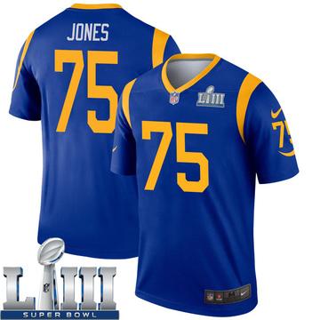 Youth Nike Los Angeles Rams Deacon Jones Royal Super Bowl LIII Bound Jersey - Legend