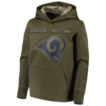 Youth Nike Los Angeles Rams Green 2018 Salute to Service Pullover Performance Hoodie -