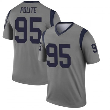 Youth Nike Los Angeles Rams Jachai Polite Gray Inverted Jersey - Legend