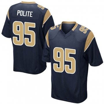 Youth Nike Los Angeles Rams Jachai Polite Navy Team Color Jersey - Game