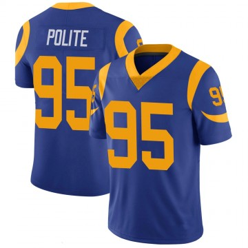 Youth Nike Los Angeles Rams Jachai Polite Royal 100th Vapor Jersey - Limited
