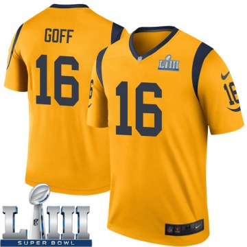 Youth Nike Los Angeles Rams Jared Goff Gold Color Rush Super Bowl LIII Bound Jersey - Legend