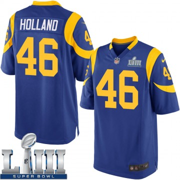 Youth Nike Los Angeles Rams Jeff Holland Royal Alternate Super Bowl LIII Bound Jersey - Game