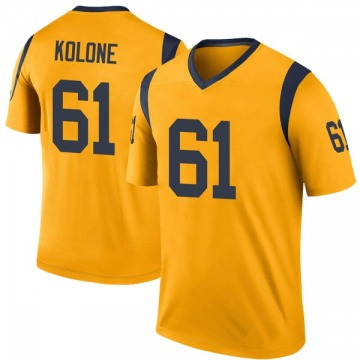 Youth Nike Los Angeles Rams Jeremiah Kolone Gold Color Rush Jersey - Legend