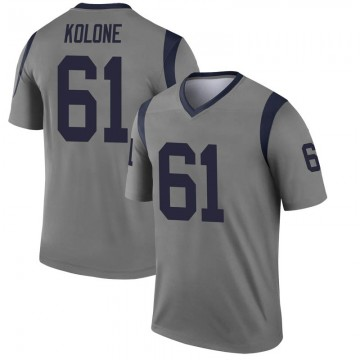 Youth Nike Los Angeles Rams Jeremiah Kolone Gray Inverted Jersey - Legend