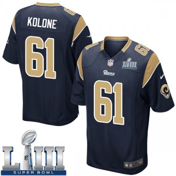 Youth Nike Los Angeles Rams Jeremiah Kolone Navy Team Color Super Bowl LIII Bound Jersey - Game